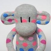 Grey Spotty Sock Monkey