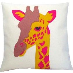pink and yellow giraffe cushion by karen hilton designs