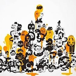 Jon Burgerman yellow sticker