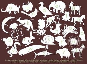 Modern Animal Alphabet - 8x10 Print - Chocolate Brown and Green
