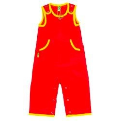 70's style red corduroy overall from Plastisock with yellow borders.