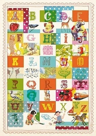Vintage alphabet art print large 11x16 inch