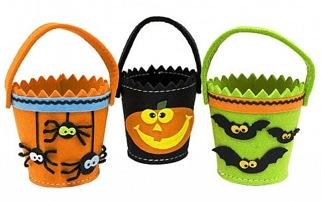 Set of Three Felt Halloween Buckets
