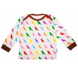 brights and stripes bird print top