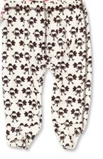 green baby bird print on trousers in brown