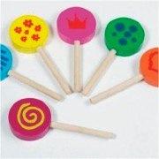 Wooden Lollipops<br /> Set of 6 wooden lollipops
