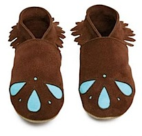 brown and turquoise inch blue moccassin