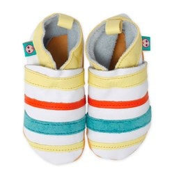 striped green baby shoes