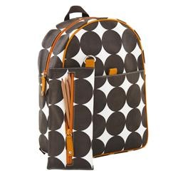 Chocolate Dot Backpack and Pencil Case by DwellStudio