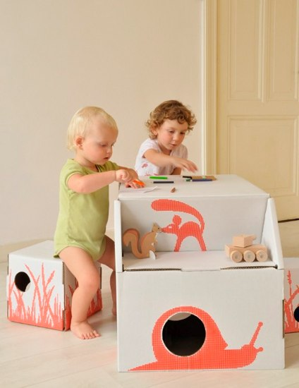 kids on roof cardboard desk and chair
