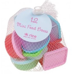 Rice DK 12 assorted small plastic food keepers in a net
