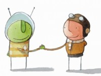 The martian and the boy shake hands in The Way Back Home