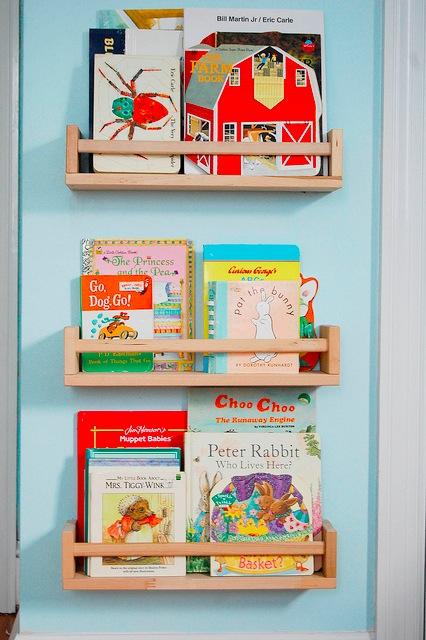 ikea spice racks into book shelving