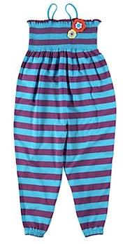 green kids striped jumpsuit