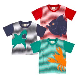 green kids striped t-shirts with sea beasts