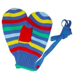 Knitted Mitts on Detachable Strings. Multi Boy Stripe