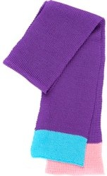 Knitted purple with turquoise and pink trim scarf by Snadi